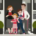 Characterdesign mit Familie Schmidt für das Papphäuschen der Stadtsparkasse Wuppertal