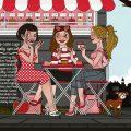 Mädchen im Cupcake Café für Schock Materialbroschüre