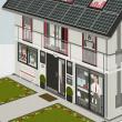 Faltbares Häuschen als Erklärhilfe für die Bausparer der Stadtsparkasse Wuppertal