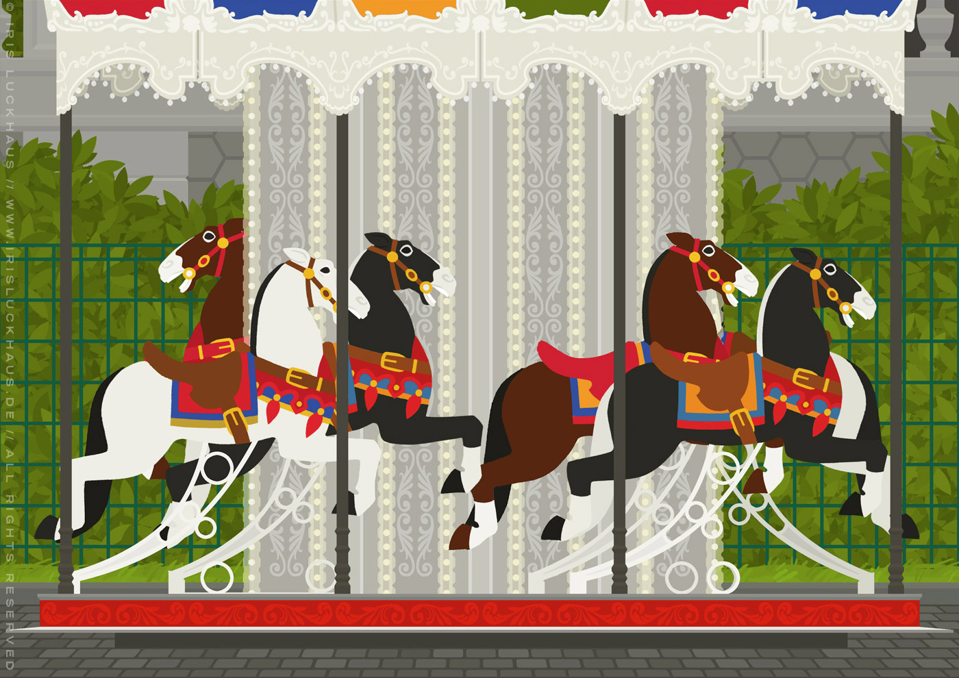 Zeichnung von einem Karussell mit Pferdchen aus Holz am Montmarte in Paris