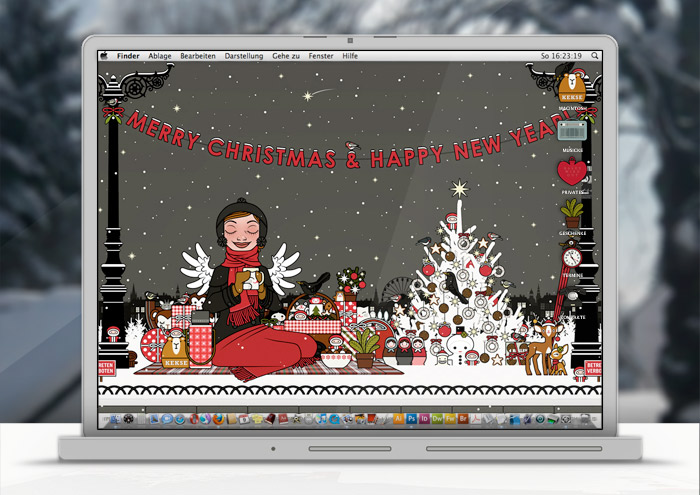 Lily Lux Wallpaper mit Schneepicknick im Winter
