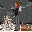 Lily Lux beim Anzünden der Kerzen am Weihnachtsbaum