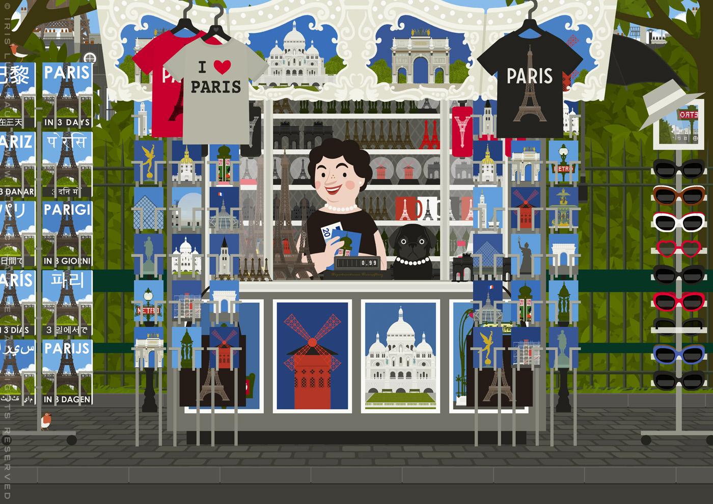 Verkäuferin mit Mops in ihrem Souvenirstand mit Postkarten, Postern, Reiseführern, T-Shirts, Taschen, Hüten und Sonnenbrillen von Paris
