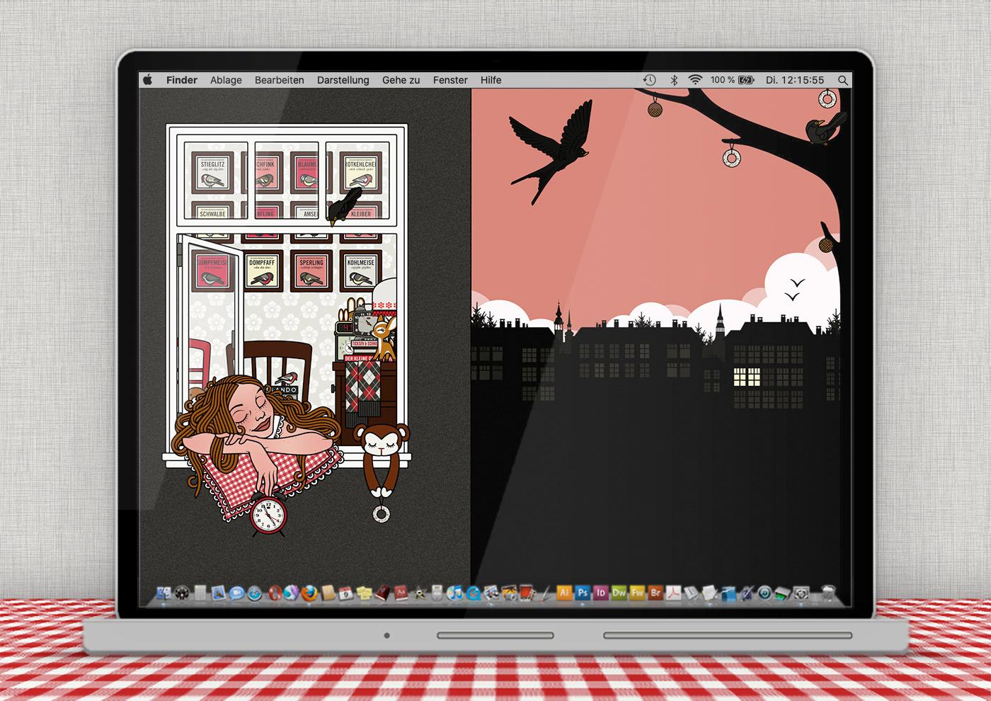 Lily Lux Wallpaper mit Vogelkonzert im Frühjahr