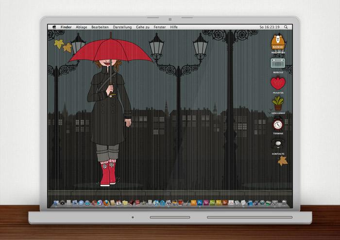Lily Lux Wallpaper mit Schirm im Herbst