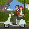 Schickes Pärchen auf einem Motorroller unterwegs durch Paris