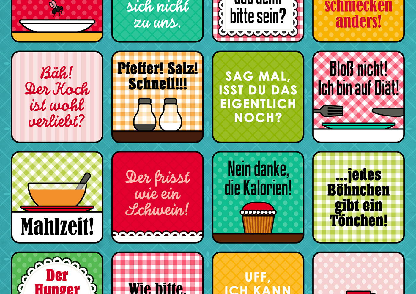 Grafik und Retro-Illustrationen für ein Bullshit-Bingo zum Thema Kantine für die AOK-Magazine onJOB und onUNI