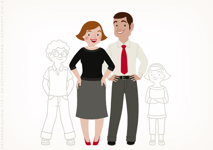 Zeichnung von einer Familie, einem Paar mit Kindern zum Ausmalen für einen Fragebogen der Stadtsparkasse Wuppertal von Iris Luckhaus