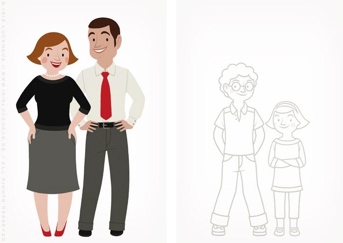 Zeichnung von einer Familie, einem Eltern Paar, Mutter und Vater, und von zwei Kindern, Junge und Mädchen bzw, Sohn und Tochter, zum Ausmalen für einen Fragebogen der Stadtsparkasse Wuppertal