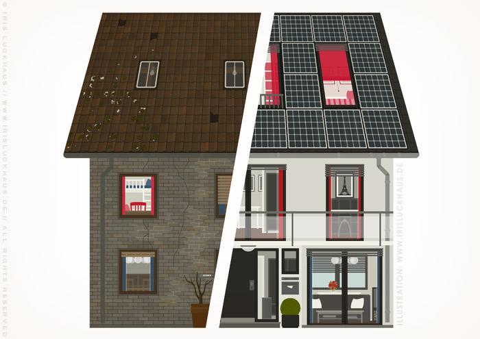Zeichnung von einem Haus in Renoviert und Unrenoviert für einen Fragebogen der Stadtsparkasse Wuppertal