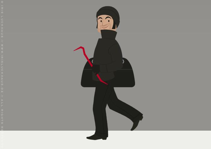 Character Design für den Einbrecher in der unrenovierten Häfte des faltbaren Modell eines Hauses aus Pappe als Erklärhilfe für die Bausparer der Stadtsparkasse Wuppertal