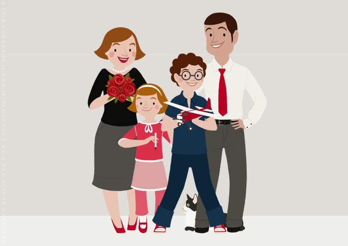 Character Design für Familie Schmidt als Bewohner der renovierten Häfte des faltbaren Modell eines Hauses aus Pappe als Erklärhilfe für die Bausparer der Stadtsparkasse Wuppertal
