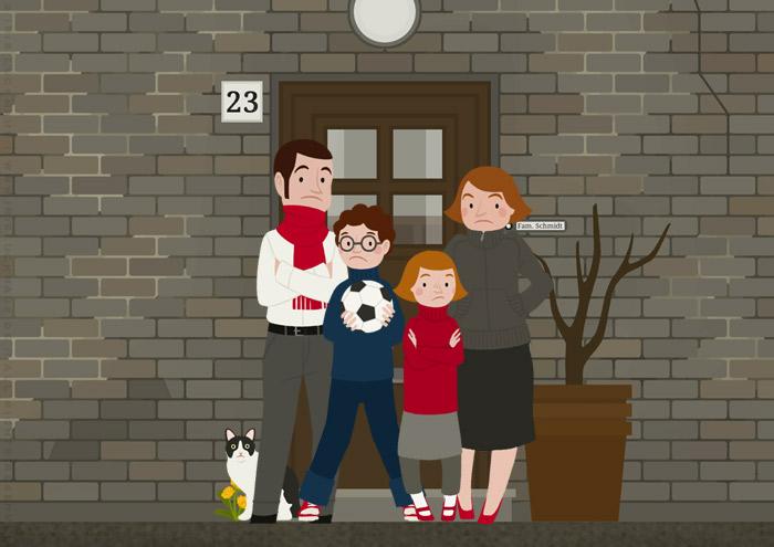 Familie Schmidt als Bewohner der unrenovierten Häfte des faltbaren Modell eines Hauses aus Pappe als Erklärhilfe für die Bausparer der Stadtsparkasse Wuppertal