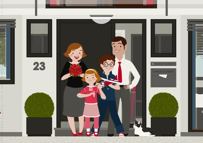 Familie Schmidt als Bewohner der der renovierten Häfte des faltbaren Modell eines Hauses aus Pappe als Erklärhilfe für die Bausparer der Stadtsparkasse Wuppertal