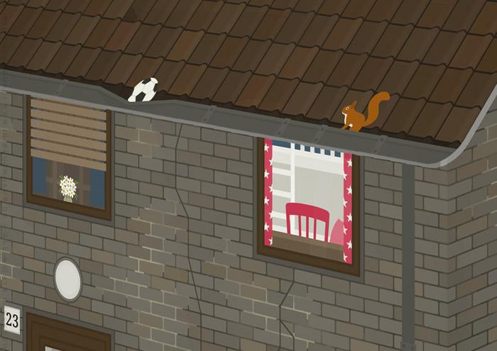 Ausschnitt vom Kinderzimmer mit Regenrinne in der unrenovierten Häfte des faltbaren Modell eines Hauses aus Pappe als Erklärhilfe für die Bausparer der Stadtsparkasse Wuppertal