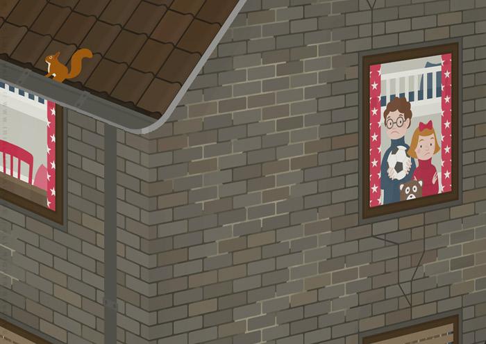 Ausschnitt vom zweiten Kinderzimmer in der unrenovierten Häfte des faltbaren Modell eines Hauses aus Pappe als Erklärhilfe für die Bausparer der Stadtsparkasse Wuppertal