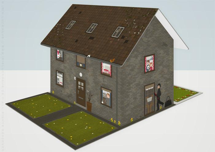 Modell der unrenovierten Häfte des faltbaren Modell eines Hauses aus Pappe als Erklärhilfe für die Bausparer der Stadtsparkasse Wuppertal