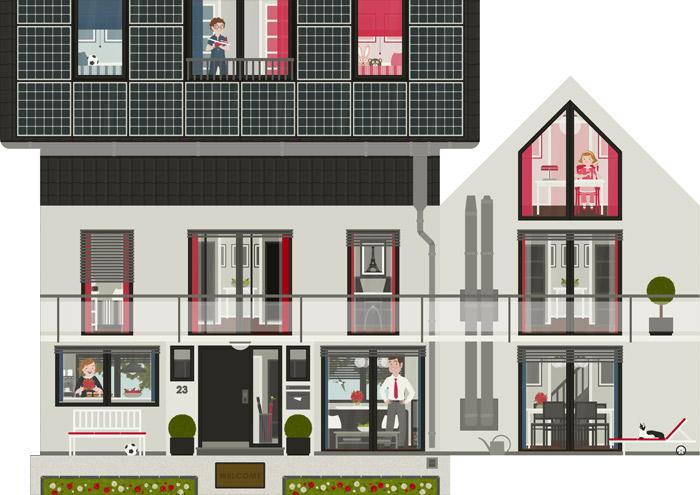 Aufriss der renovierten Häfte des faltbaren Modell eines Hauses aus Pappe als Erklärhilfe für die Bausparer der Stadtsparkasse Wuppertal