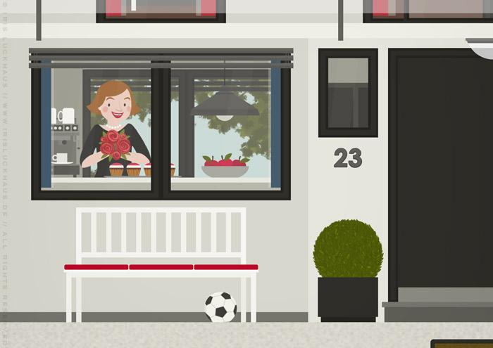 Ausschnitt von Küche und Gartenbank in der renovierten Häfte des faltbaren Modell eines Hauses aus Pappe als Erklärhilfe für die Bausparer der Stadtsparkasse Wuppertal