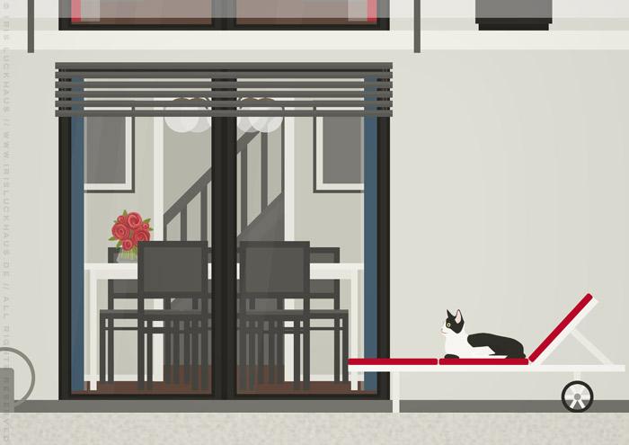 Ausschnitt von Wohnzimmer und Garten in der renovierten Häfte des faltbaren Modell eines Hauses aus Pappe als Erklärhilfe für die Bausparer der Stadtsparkasse Wuppertal