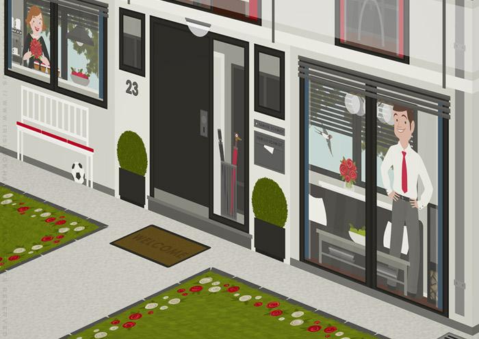 Ausschnitt von Haustür und Wohnzimmer in der renovierten Häfte des faltbaren Modell eines Hauses aus Pappe als Erklärhilfe für die Bausparer der Stadtsparkasse Wuppertal