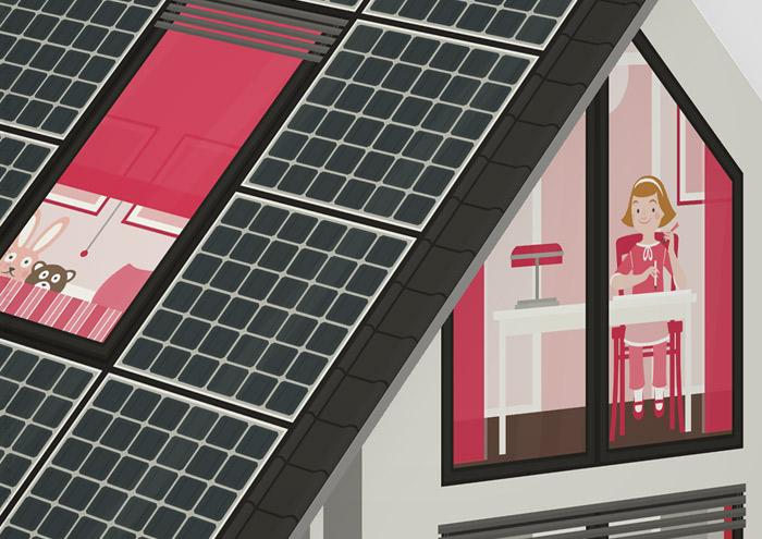 Ausschnitt vom Kinderzimmer des Mädchens in der renovierten Häfte des faltbaren Modell eines Hauses aus Pappe als Erklärhilfe für die Bausparer der Stadtsparkasse Wuppertal