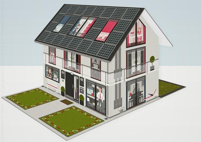 Modell der renovierten Häfte des faltbaren Modell eines Hauses aus Pappe als Erklärhilfe für die Bausparer der Stadtsparkasse Wuppertal