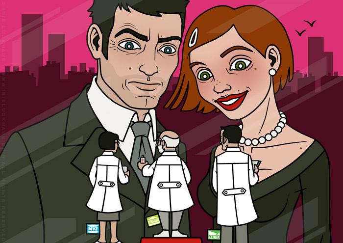 Close-Up der Coverillustration Vergleichen lohnt sich mit einem schicken Paar, das in einem Schaufenster Therapieformen als kleine Ärzte vergleicht, für das Ärztepost Magazin vom PVS Verband