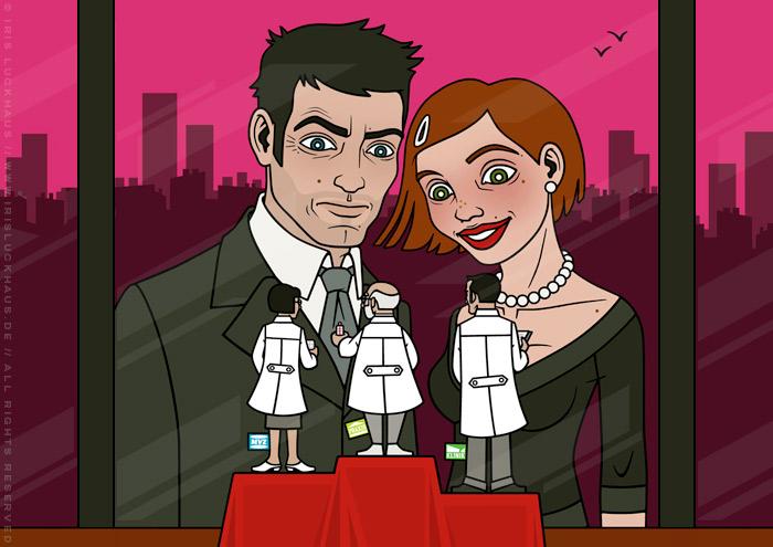 overillustration Vergleichen lohnt sich mit einem schicken Paar, das in einem Schaufenster Therapieformen – Praxis, MVZ und Klinik – als kleine Ärzte vergleicht, für Ärztepost Magazin