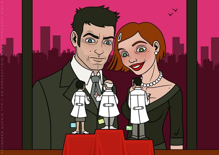 Coverillustration Vergleichen lohnt sich mit einem schicken Paar, das in einem Schaufenster Therapieformen als kleine Ärzte vergleicht, für das Ärztepost Magazin vom PVS Verband