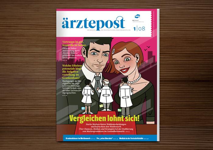 Ärztepost Magazin vom PVS Verband mit Coverillustration Vergleichen lohnt sich mit einem schicken Paar, das in einem Schaufenster Therapieformen – Praxis, MVZ und Klinik – als kleine Ärzte vergleicht