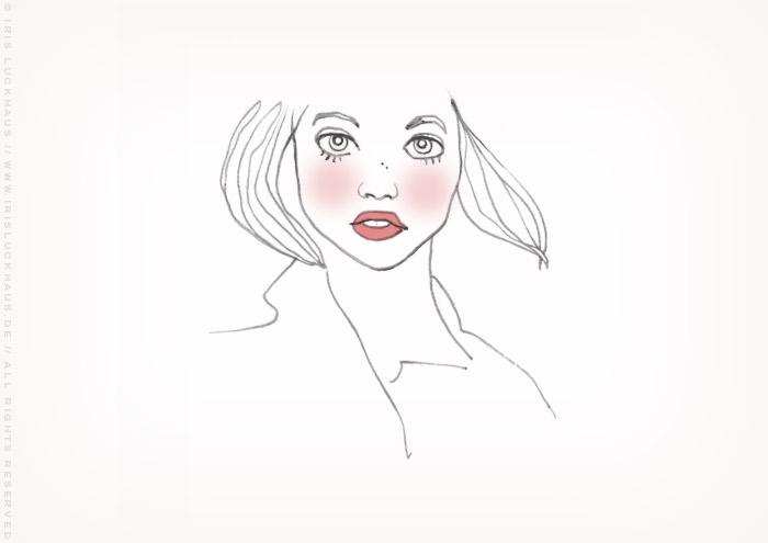 Skizze für die Zeichnung eines verträumten Mädchenportraits