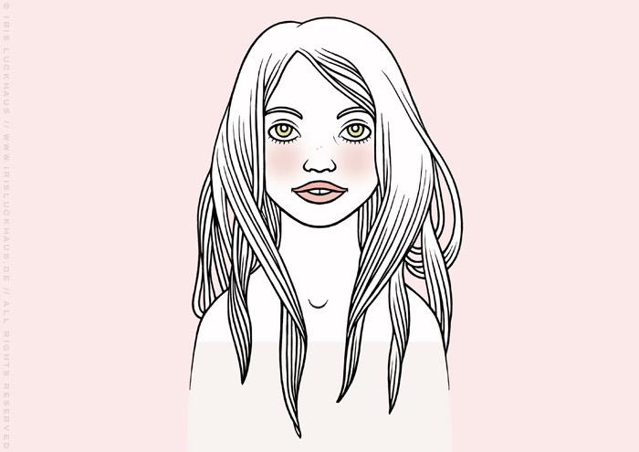 Zeichnung eines verträumten Mädchenportraits vor puderrosa Hintergrund von Iris Luckhaus