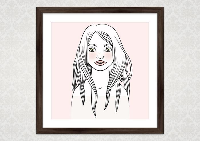 Poster mit der Zeichnung eines verträumten Mädchenportraits vor puderrosa Hintergrund