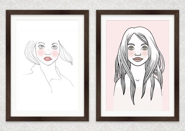 Zwei Zeichnungen für verträumte Mädchenportraits im Rahmen