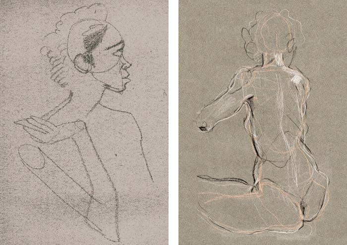 Aktzeichnung von Ewa als Portrait und Rückenansicht in Ölkreide