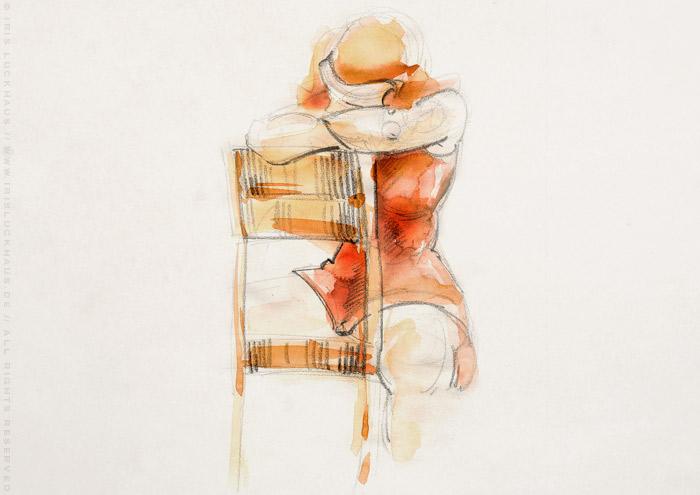 Aktzeichnung mit Aquarell von Friederike auf einem Stuhl