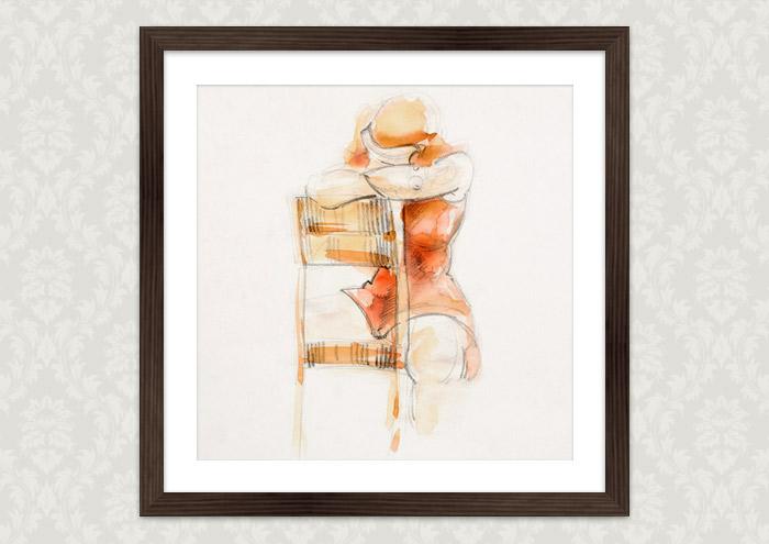 Gerahmte Aktzeichnung mit Aquarell von Friederike auf einem Stuhl