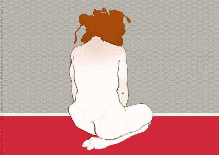 Kolorierte Aktzeichnung von Gabi im Knien in Rückenansicht mit Rastas