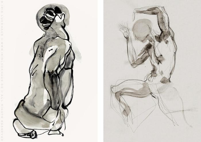 Akt-Aquarell von Geraldo, der sich sitzend um den Kopf greift und in diabolischer Pose