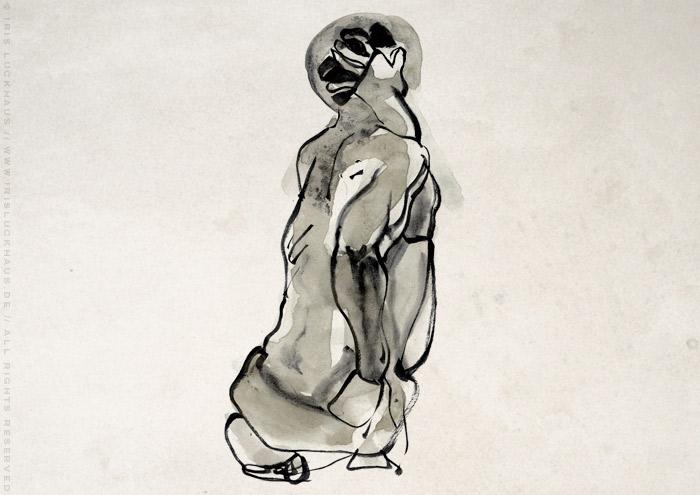 Akt-Aquarell von Geraldo, der sich sitzend um den Kopf greift