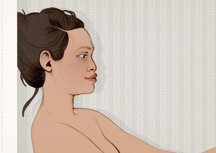 Koloriertes Aktportrait von Nusara als Portrait