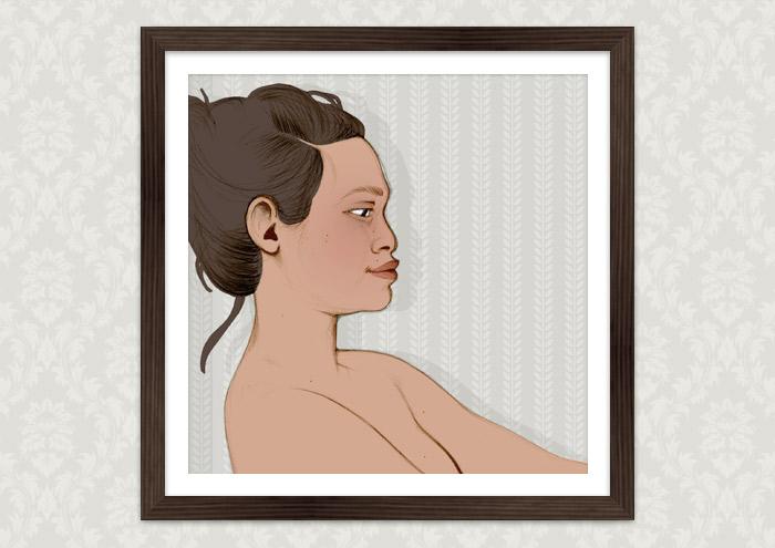 Gerahmte, koloriertes Aktportrait von Nusara als Portrait