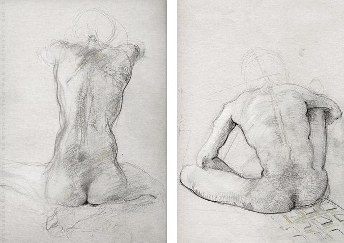 Aktzeichnung von Udo in zwei sitzenden Rückenansichten