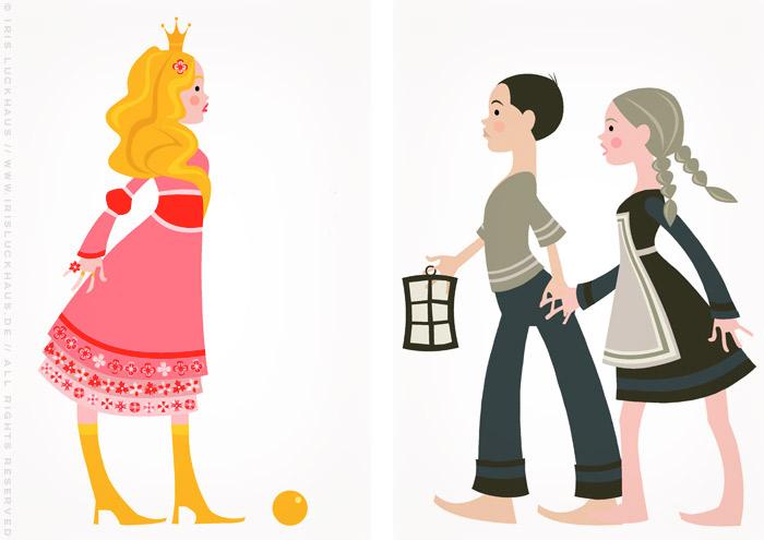 Vektorillustrationen zu Grimms Märchen mit rosa Prinzessin mit goldenem Ball, aber ohne Froschkönig oder Erbse, sowie Hänsel und Gretel
