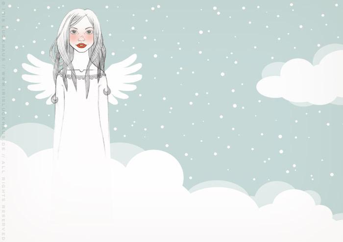 Handzeichnung von einem mädchenhaften Engel auf Wolken für eine Liebesgeschichte