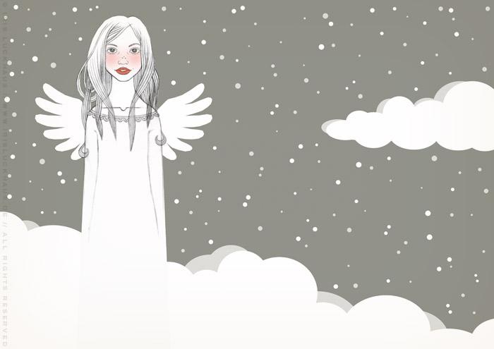 Handzeichnung von einem mädchenhaften Engel auf Wolken für eine Weihnachtskarte