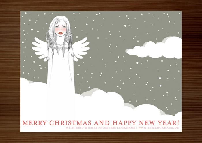 Handzeichnung von einem mädchenhaften Engel auf Wolken mit Grafik auf einer Weihnachtskarte