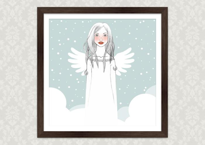 Gerahmte Handzeichnung von einem mädchenhaften Engel auf Wolken für eine Liebesgeschichte