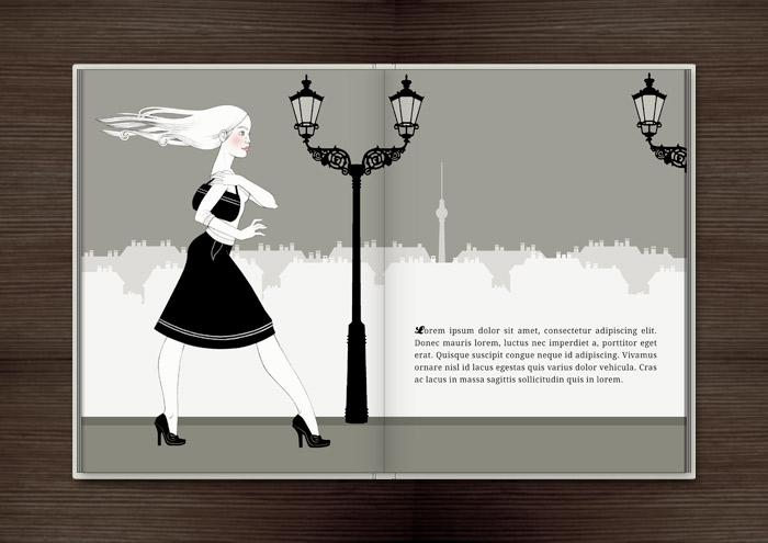 Kolorierte Handzeichnung eines Mädchens, das an einem warmen Sommerabend die Berliner Kastanienallee hinabspaziert, im Buch Träumen von Berlin – Eine Liebesgeschichte